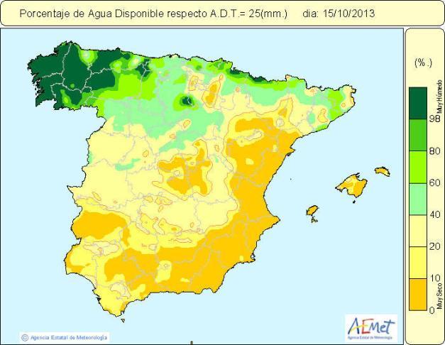 humedad suelo peninsula iberica 15-10-2013