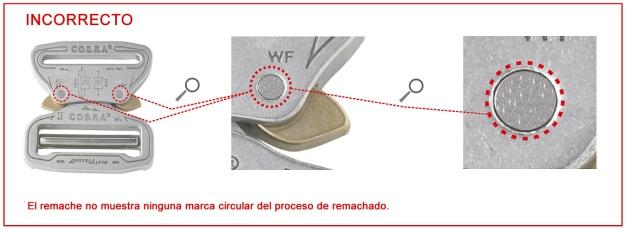 Conexión o hebilla sin remachar, pincha en la imagen para ampliar.